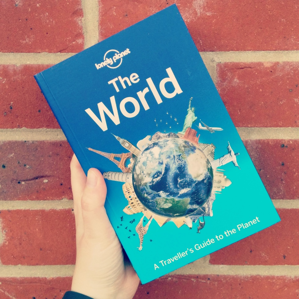 Lonely Planet book 'The World' against a brick wall