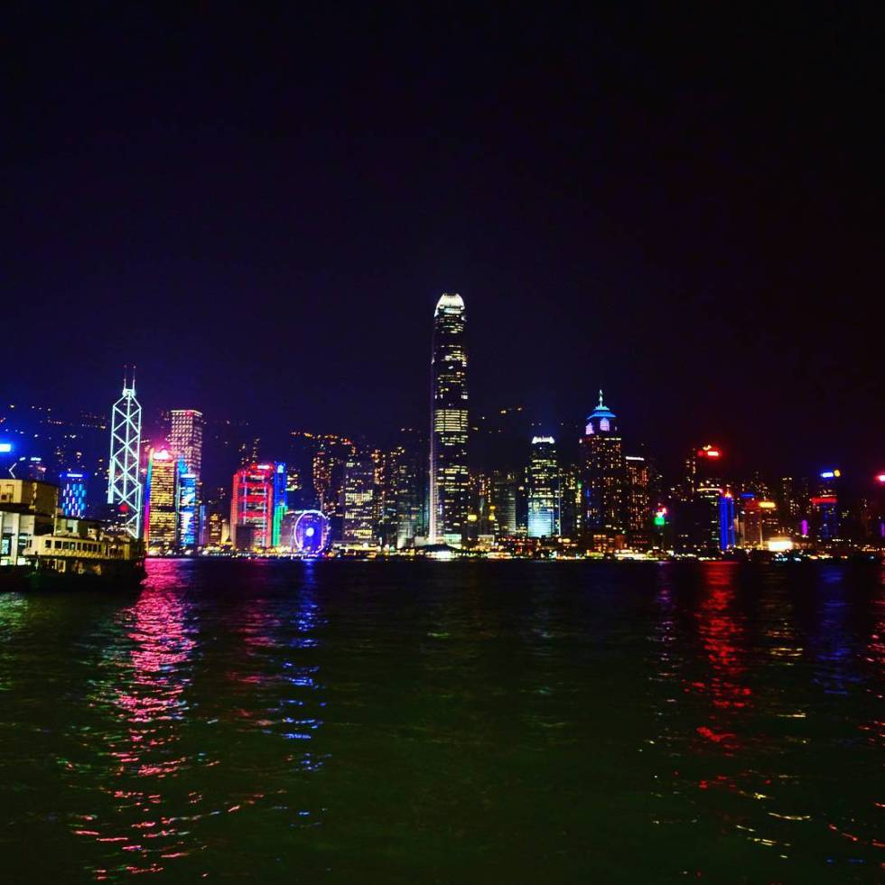 Hong Kong skyline line star ferry bank of china IFC night time