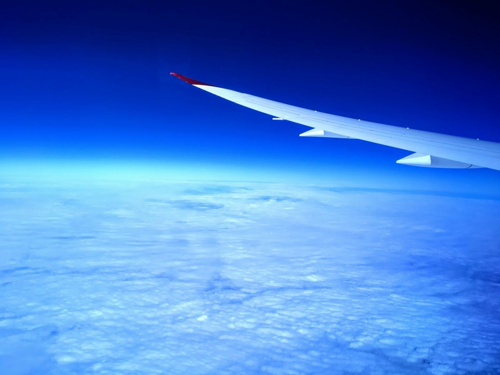 Plane wing shot virgin atlantic Boeing 787
