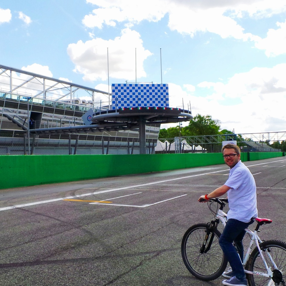 Cycling around Monza track, Italy
